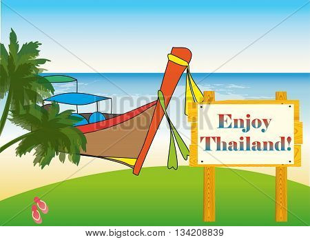 Boat and shore of the beach vector illustration