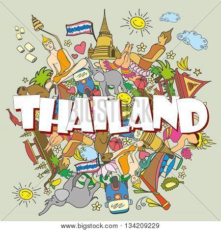 Thailand . Set Thai color vector icons and symbols cartoon vector illustration