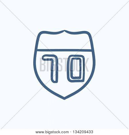 Route road sign vector sketch icon isolated on background. Hand drawn Route road sign icon. Route road sign sketch icon for infographic, website or app.
