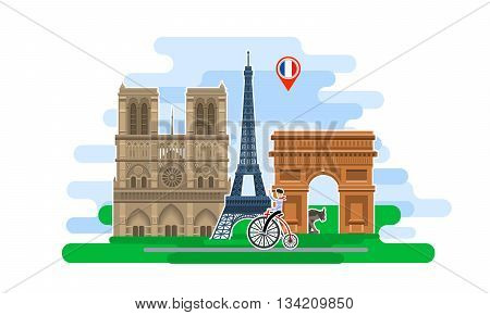 Concept of travel to France or studying French. French flag with landmarks. Excellent vacation in France. Cool trip to France. Fine travel to France. Time to travel. Tourism in France. Flat design, vector illustration