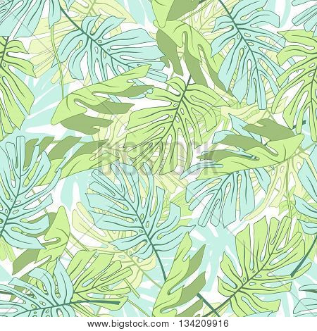 Tropical palm leaves. Seamless tropical jungle floral pattern.Vector illustration.