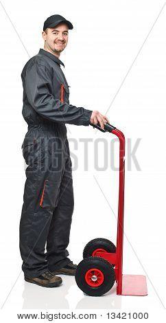 Worker With Handtruck