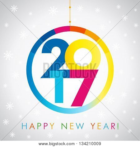 Happy holidays card with snow flakes and vector color figures 2017 in circle in the form of a graph. 2017 new year card. 2017 new year creative colored design for your greetings card, flyers, party and event