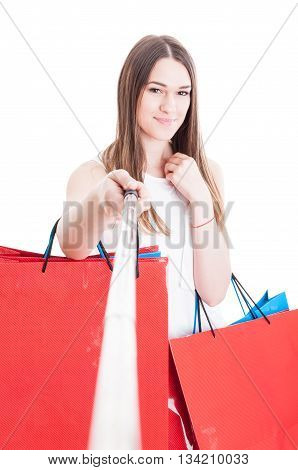 Beautiful Smiling Shopaholic Doing Shopping And Taking A Self Portrait