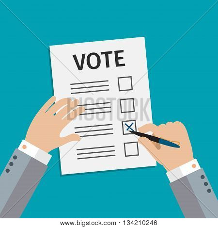 Concept of voting. Man write vote on elections. Flat design, vector illustration.