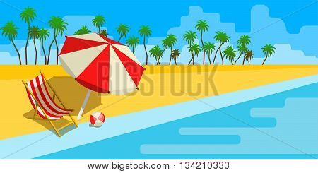 Vacation and travel concept. Umbrella, beach chair and a ball on the beach. Happy travel. Travel to summer. Flat style vector illustration