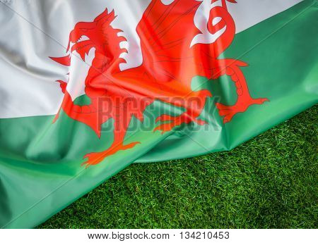 Flags of Wales on green grass