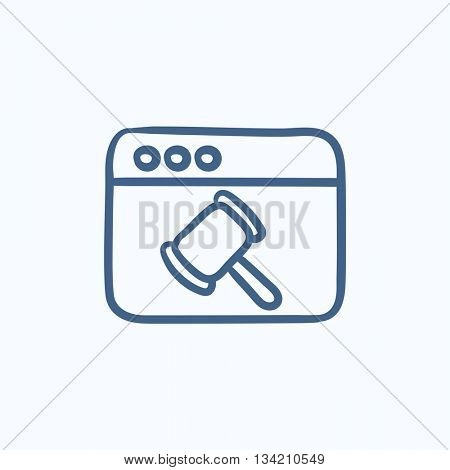 Browser window with judge hammer vector sketch icon isolated on background. Hand drawn Browser window with judge hammer icon. Browser window with hammer sketch icon for infographic, website or app.