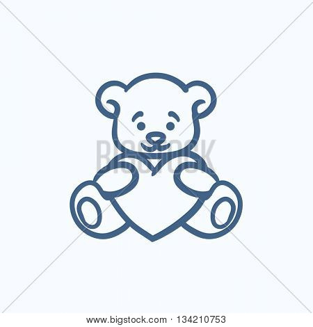 Teddy bear with heart vector sketch icon isolated on background. Hand drawn Teddy bear with heart icon. Teddy bear with heart sketch icon for infographic, website or app.
