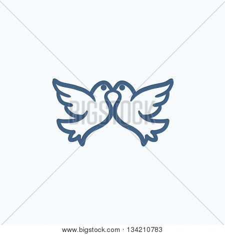 Wedding doves vector sketch icon isolated on background. Hand drawn Wedding doves icon. Wedding doves sketch icon for infographic, website or app.