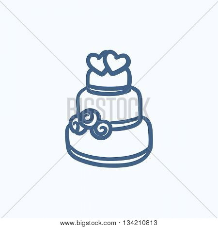 Wedding cake vector sketch icon isolated on background. Hand drawn Wedding cake icon. Wedding cake sketch icon for infographic, website or app.