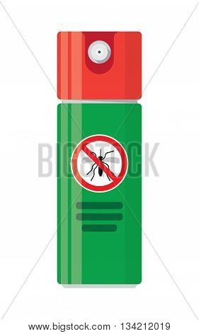 Repellent spray insect. Mosquito silhouette. Mosquito repellent. Isolated repellent bottle. Self defense. Mosquito spray icon flat.Mosquito spray can vector.Mosquito spray bottle icon. Repellent spray