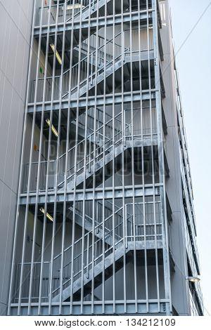 Metal fire escape outside building