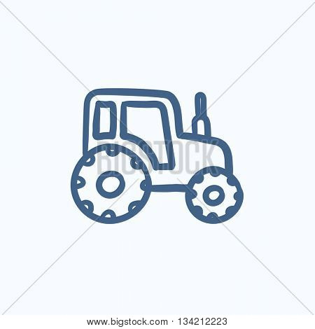 Tractor vector sketch icon isolated on background. Hand drawn Tractor icon. Tractor sketch icon for infographic, website or app.