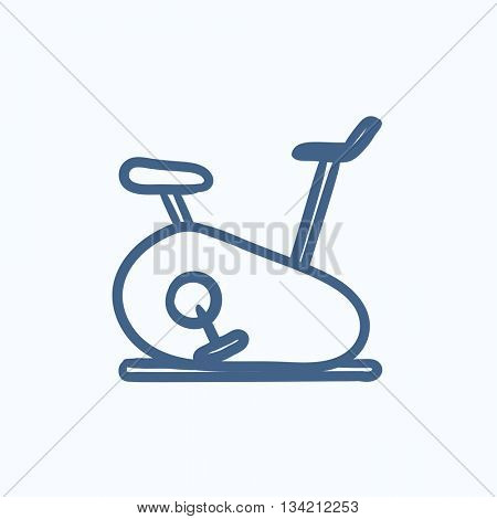 Exercise bike vector sketch icon isolated on background. Hand drawn Exercise bike icon. Exercise bike sketch icon for infographic, website or app.