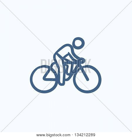 Man riding bike vector sketch icon isolated on background. Hand drawn Man riding bike icon. Man riding bike sketch icon for infographic, website or app.