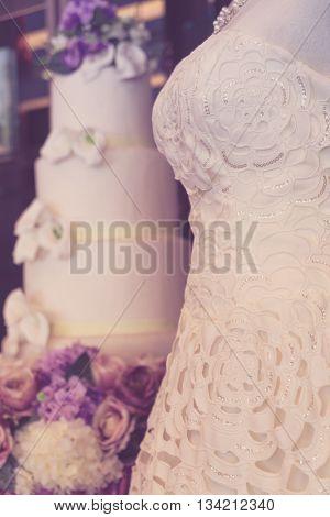 Wedding dresses on mannequins ( Filtered image processed vintage effect. )