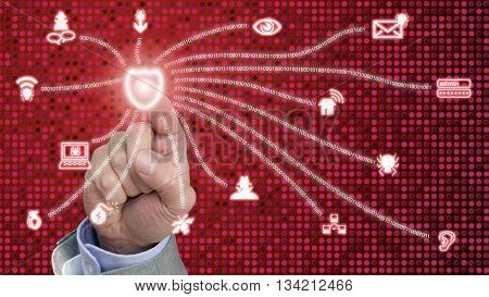 Hand presses a red glowing shield connected to common internet security threats on dotted background