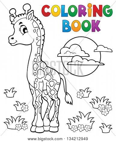 Coloring book young giraffe theme 2 - eps10 vector illustration.