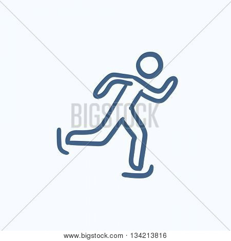 Speed skating vector sketch icon isolated on background. Hand drawn Speed skating icon. Speed skating sketch icon for infographic, website or app.