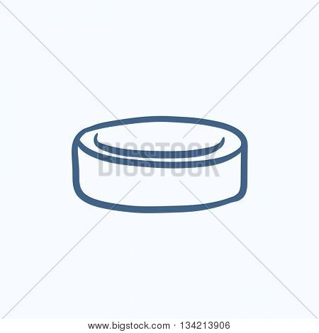 Hockey puck vector sketch icon isolated on background. Hand drawn Hockey puck icon. Hockey puck sketch icon for infographic, website or app.