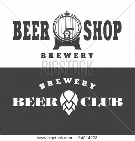 vector illustration of a set of posters on the theme of beer depicting beer barrel and flower hops