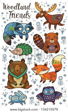 Set of cute woodland animals isolated on white background. Woodland tribal animals cute forest and nature design elements vector. Woodland nursery wall art with fox, beaver, raccoon, bear, hedgehog, deer and owl