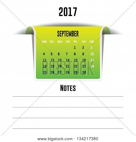 Vector calendar September 2017 with a place for notes. Weeks start on Monday