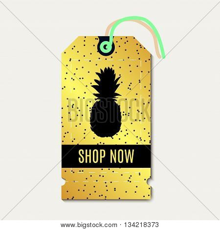 Tag sale discount. With pinapple gold background. For advertising business websites print
