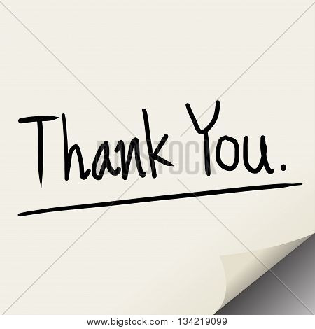 Thank you hand write on paper note vector illustration.