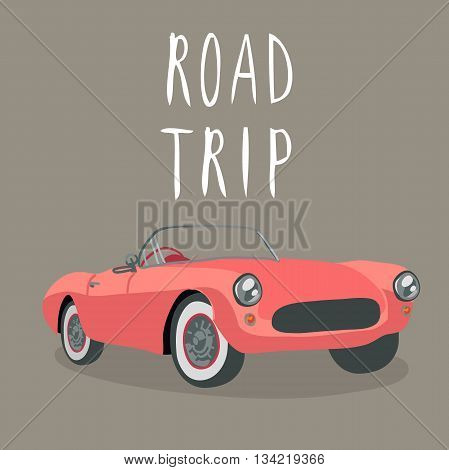 Red retro sport car isolated vector. Road trip