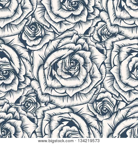 Seamless pattern - black and white flower background with roses. Vector illustration.