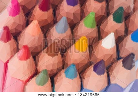 Low poly illustration stack of multicolored pensils tops close up