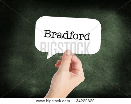 Bradford written in a speech bubble