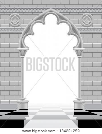 Gothic arch and wall in black and white colors on the glossy chess floor. Vintage architecture frame and background in shades of gray.  3D Illustration