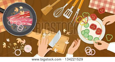 Team of chefs preparing food top view cook at the kitchen table vector illustration