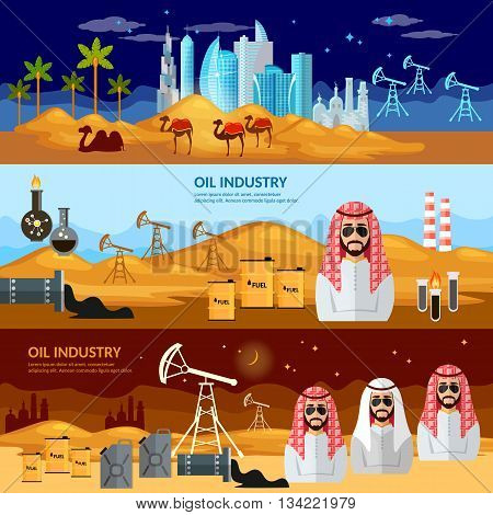 Oil production in the Arab countries banner arab men exploration and production of oil sheiks in desert vector illustration