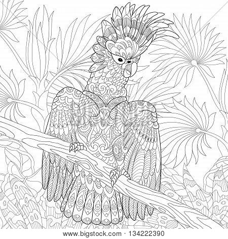 Zentangle stylized cartoon cockatoo parrot in tropical forest jungle. Hand drawn sketch for adult antistress coloring page T-shirt emblem logo tattoo with doodle zentangle floral design elements.