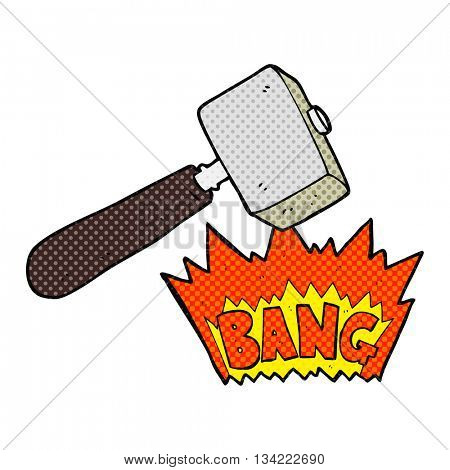 freehand drawn comic book style cartoon mallet banging