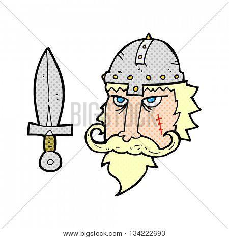 freehand drawn comic book style cartoon viking warrior