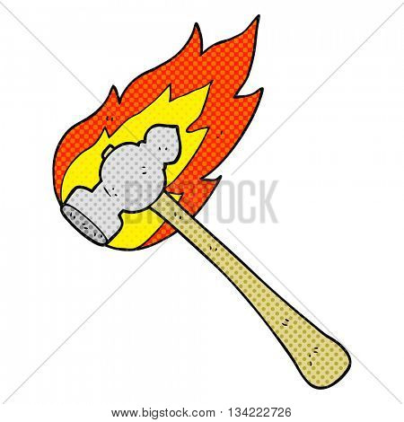 freehand drawn comic book style cartoon flaming hammer