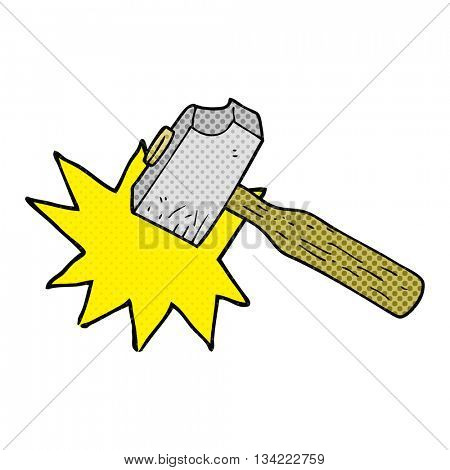 freehand drawn comic book style cartoon mallet