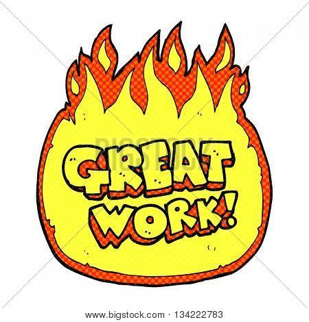 great work freehand drawn comic book style cartoon symbol
