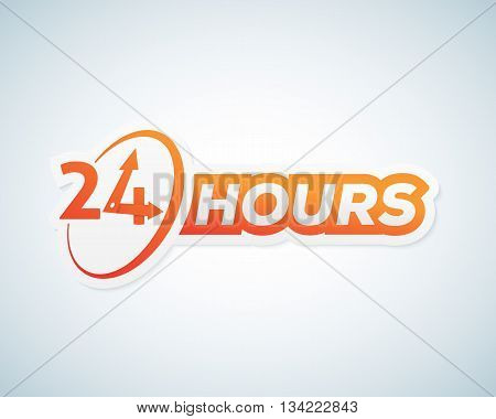 Twenty Four Hours Open Vector Sticker, Sign or Signboard Template. Isolated.