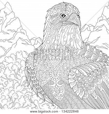 Zentangle stylized cartoon eagle of prairie (hawk falcon osprey). Hand drawn sketch for adult antistress coloring page T-shirt emblem logo or tattoo with doodle zentangle floral design elements.