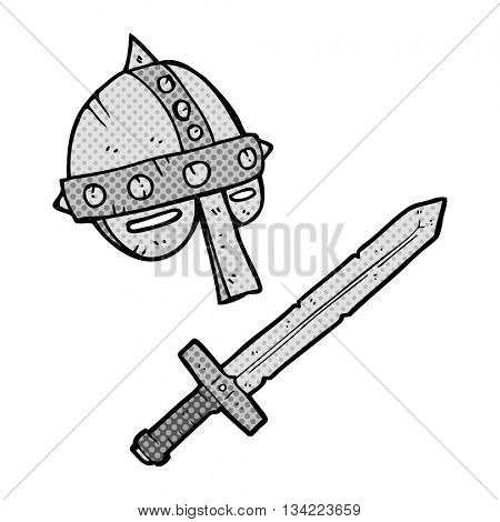 freehand drawn comic book style cartoon medieval helmet