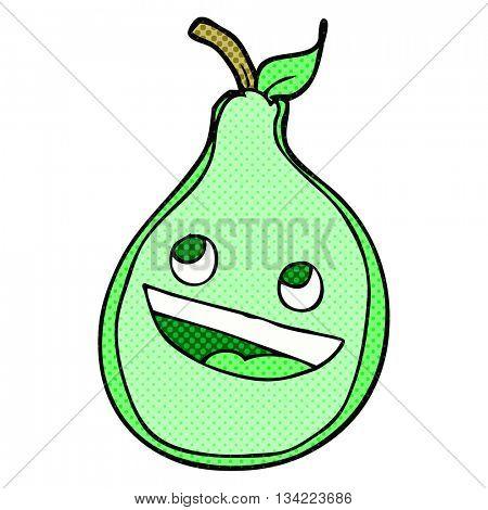 freehand drawn comic book style cartoon pear