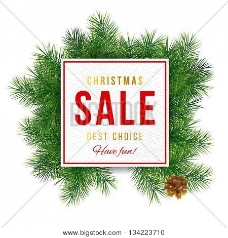 sale banner with Christmas tree brunches