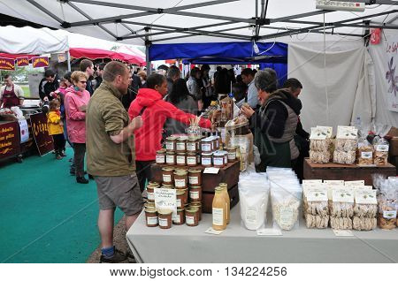 Jouy en Josas France - june 5 2016 : gastronomic market in Viltain farm