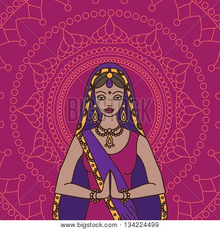 South Asia beautiful woman and man wearing indian traditional cloth, hinduism costume, sari on background outline, vector